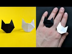 Origami Cat, Money Origami, Crafts To Do, Crafts For Kids, Paper Crafts, Diy Paper Rings, Best Paper Plane, Origami Jewelry, Cat Ring
