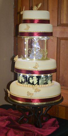 Sherae Wedding - My daughter's wedding cake. Tiers From Bottom- Rich fruit cake, Rich chocolate cake & choc icing, Red velvet cake & cream cheese icing, Lemon sour cream cake & lemon icing. Lemon Sour Cream Cake, Lemon Icing, Cream Wedding Cakes, Red Velvet, Velvet Cake, Cream Cheese Icing, Burgundy And Gold, How To Make Cake, Chocolate Cake