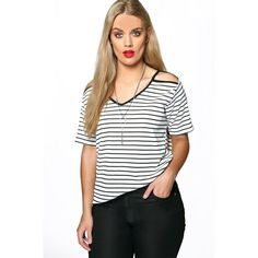 Boohoo Plus Plus Amanda Striped Open Shoulder T-Shirt ($26) ❤ liked on Polyvore featuring tops, t-shirts, multi, striped tee, striped long sleeve t shirt, long sleeve crew neck tee, long sleeve crop top and ribbed tee