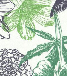 Tropical Fabric- Birds & Flowers Line Green Flannel