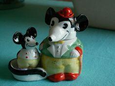 tres RARE service à condiments ancien porcelaine  MICKEY 1930  saliere poivriere   eBay