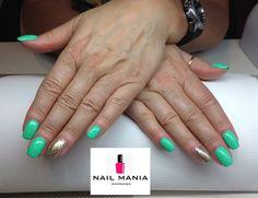 Bright emerald and gold disco - Semialc colours by Salon Nail Mania Warszawa ul. Sienna 72A lok.09 tel. 603-819-755