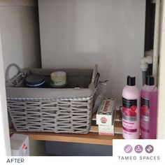 Tamed Spaces de-clutters this bathroom cupboard in under 60 minutes showing the before, during and after process. Next step is to organise! Declutter, Cupboard, Organization, Spaces, Bathroom, Clothes Stand, Getting Organized, Washroom, Armoire
