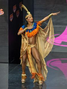 Mondiana J'hanne Pierre, Miss Haiti 2013, models in the National Costume contest at Vegas Mall on November 3, 2013. (Credit: Darren Decker/Miss Universe2013