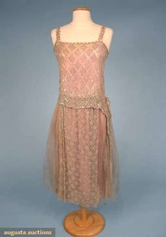 Augusta Auctions, October 2008 Vintage Clothing & Textile Auction, Lot 607: Crystal Encrusted Party Dress, C. 1925
