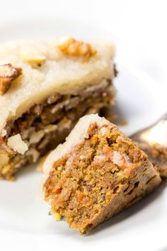 This vegan carrot cake has the most amazing texture! And you'll never guess what's inside...clean, healthy and simple! [gluten-free]