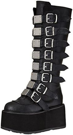 online shopping for Demonia Demonia Women's Knee High Boot from top store. See new offer for Demonia Demonia Women's Knee High Boot Emo Shoes, Cute Shoes, Me Too Shoes, Emo Clothes For Girls, Goth Boots, Gothic Shoes, Baskets, Dream Shoes, Knee High Boots