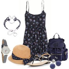 """""""Flowers and polka dots"""" by dgia on Polyvore"""