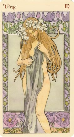 """virgo """"art nouveau astrological oracle deck"""" illustrated by antonella castelli and published by lo scarabeo"""