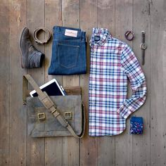 How To: Men's Rugged Look for Fall! Check out links to our favorite Fall staples! This Folk Leather Bag is amazing!