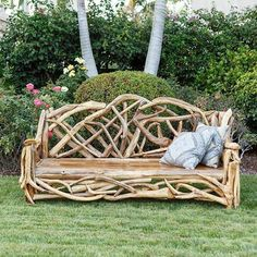 Find the unique and exotic with this Teak Driftwood Branch Bench from Om Gallery. Willow Furniture, Driftwood Furniture, Driftwood Projects, Driftwood Art, Rustic Furniture, Garden Furniture, Outdoor Furniture, Outdoor Decor, Modern Furniture