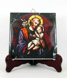 Saint Joseph with Child Jesus catholic icon on ceramic tile - a perfect devotional gift - holy art - St Joseph art - catholic gifts