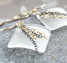 Frosted  Glass Earrings Gold Filled Mixed Metal Earrings Glass