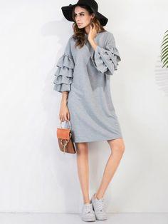 Grey Ruffle Sleeve Tee Dress
