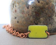 Yellow Bracelet Enamel Bracelet Enameled Copper by fivefort