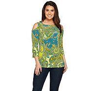 Susan Graver Printed Liquid Knit Cold Shoulder Top - A286724