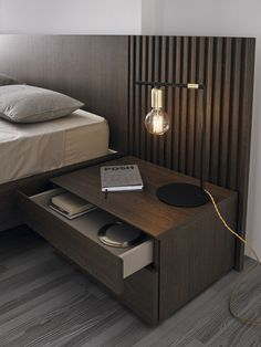 Mies bed by Odosdesign - Mobenia Home || #headboard #smokyoak #bed #bedroom #roble #furniture #night