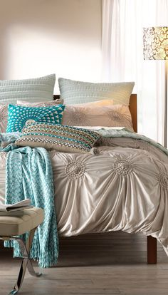 Chloe Bedding in Grey/Veil #bedding #bedroom - like the pop of blue