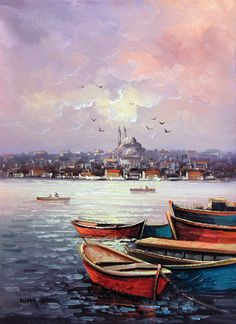 İstanbul Tabloları İST 043 Turkish Art, Pictures To Paint, Oil Painting Pictures, Art Oil, Watercolor Paintings, Watercolor Pencils, Boat Painting, Istanbul Turkey, Art Drawings