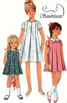 1960s Simplicity 7035 Girls MOD Dress with Inverted by sandritocat, $11.00
