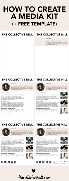 How to Create a Media Kit for Your Blog (+ Free Template) TheCollectiveMill.com