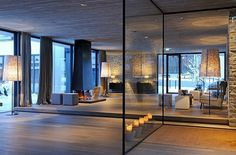 Flexible Wooden Detail for Your Hotel Interior Design : Intriguing Hotel Interior Design With Glass Room Divider