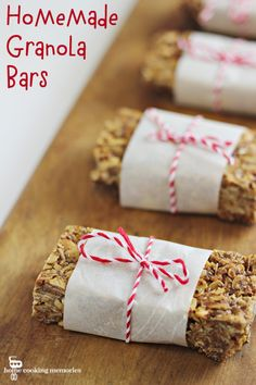 Homemade Granola Bars - made with coconut and peanut butter! A favorite lunchbox or after school snack.