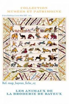 Cross stitch pattern chart: animals from the Bayeux embroidery
