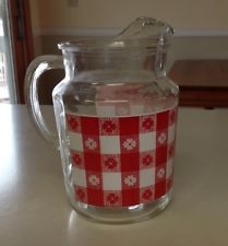 USED RETRO 2 1/2QT.GLASS RED/WHITE CHECKERED/FLOWERED DESIGN PITCHER