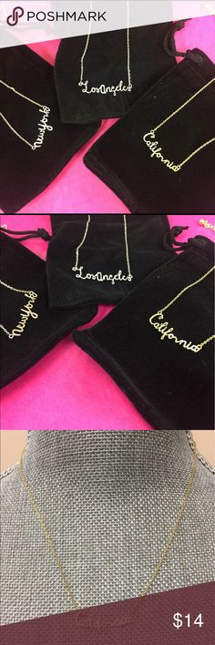 Script NY or Cali or LA Necklace, NWT & Giftboxed New York State of Mind or Casual California Chill or LA swag?? These fab script necklaces are available in 14k gold plated, silver plated or Rose Gold plated finishes. Pick your favorite and I'll check stock and create a listing for you to buy. See mannequin for size 😊 zokydoky Jewelry Necklaces