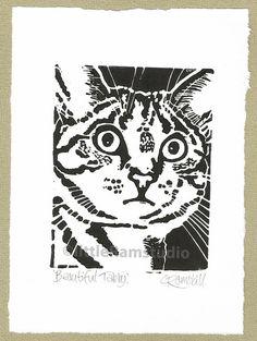Beautiful Tabby Cat  Linocut Original hand by littleRamstudio, £18.00