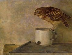 """art-centric: """" Jan Mankes - Little Owl on a Mug """" Paintings I Love, Animal Paintings, Art And Illustration, Illustrations, A4 Poster, Poster Prints, Little Owl, Ouvrages D'art, Dutch Painters"""