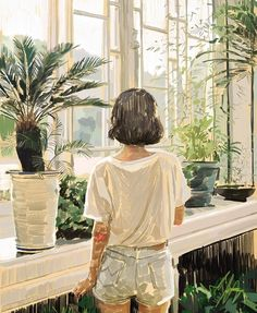 Warm watercolor sketch, young girl with short hair staring out of the window