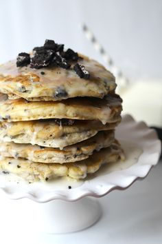 Inspired by the popular ice cream flavor, this Cookies and Cream Pancake Cake is delicious and easy!