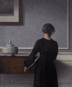 Vilhelm Hammershoi - Interieur mit Rueckenansicht einer Frau - - Randers Kunstmuseum - Interior with Young Woman Seen from the Back - Wikipedia, the free encyclopedia Photografy Art, Art Moderne, Grey Paint, Art Plastique, Heritage Image, Oeuvre D'art, Young Women, Young Young, Art Museum