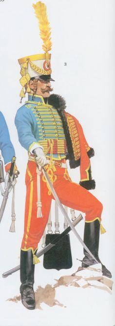 Trompette, 5e Hussards, Grande tenue, 1805, d'après Angus Mc Bride (MAA Napoleon's Hussars; texte de Emir Bukhari)