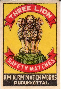 Matchbox label - India - THREE LION (Km.K.Rm. Match Works - Pudukkottai) - cm. 3,5 x 5,2