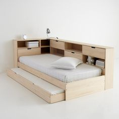 Yann solid pine bed with trundle, shelves and base La Redoute Interieurs | La Redoute