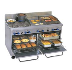 """Comstock-Castle Range gas - F3226-18-1.5RB    Comstock-Castle Range gas - F3226-18-1.5RB  Range, gas, 60"""" W, (4) 24,000 BTU star burners w/12"""" square cast iron grates, (1) 18"""" - 3/4"""" thick griddle w/manual controls, (1) 18"""" char-broiler w/iron radiants, (2) standard ovens w/enamel lining, s/s exterior & 7"""" high backguard, 6"""" s/s legs, 201,000 BTU"""