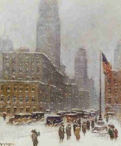 American oil painting by the famous artist Guy Wiggins, showing New York City during a snow storm. He was known for NYC paintings, often showing the American flag.