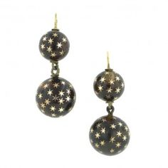Antique Pique Drop Earrings::graduated, two ball drop design, inlaid with stars, fashioned in silver gilt. French. Circa 1860. Length 1 3/8 inches.