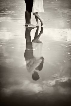 Black and White beach reflection save the date/engagement photo. via Charleston Weddings Blog