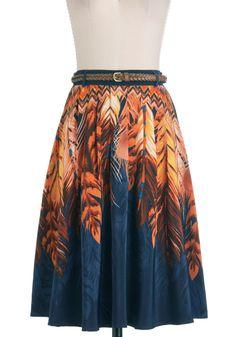 ModCloth Indigo Swirls Skirt - Long, Orange, A-line, Belted, Blue, Print, Casual