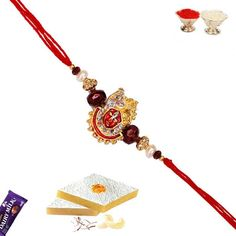 Picture of Shrinathji Rakhi with Bead and Pearl