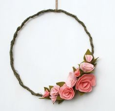 Felt Wildflower Wreath Spring Wreath Pale Pink by CuriousBloom