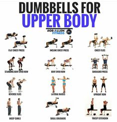 Here is a collection of upper body exercises where you need only dumbbells (and Workout Body Workout At Home, At Home Workouts, Arm Workouts For Men, Super Set Workouts, Body Pump Workout, Hotel Gym, I Work Out, No Equipment Workout, Get In Shape