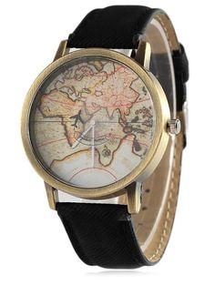 Faux Leather Map Quartz Watch #CLICK! #clothing, #shoes, #jewelry, #women, #men, #hats