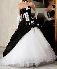 Schwarz-weiße Korsett Ballkleid Gothic Brautkleider Hochzeitskleid Größe +++++++
