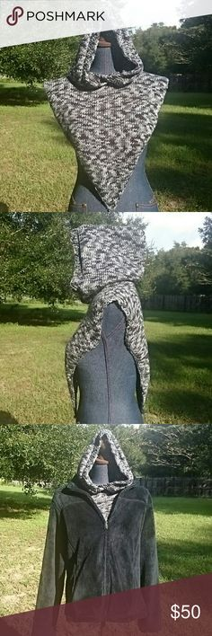 "Hand Knit ""Everything"" Hoodie Hooded Cowl Scarf Shades of black & grey make up this hand knit (by me) hoodie that keeps ""everything"" warm from your chest up. Head, ears, neck & chest. Wear it layered (pic 3) under a coat, jacket or vest or even by itself. Measures 17"" across from shoulder to shoulder, 17"" from neck to bottom point, hood is 15""  tall, neck opening 20"". Great for teens, men or women. Great for all outdoor activities, hunting, ice fishing, snowmobiling, working in the barn…"