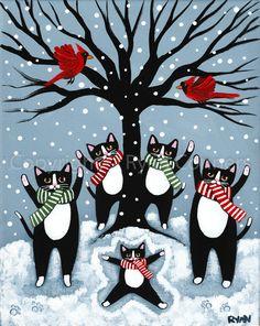 Celebration Of Winter Original Tuxedo Cat Folk Art Painting Celebration Of Winter Original Tuxedo Cat Folk Art Painting By Kilkennycat Art 55 25 Usd Copyright Ryan Conners Christmas Cats, Xmas, Here Kitty Kitty, Illustrations, Crazy Cats, Cool Cats, Cat Art, Cats And Kittens, Folk Art